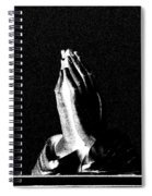 Praying Hands Black And White Glow Spiral Notebook