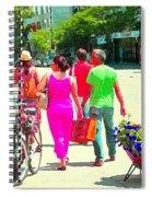 Pretty Pink Summer Dress Sunny Stroll Licari St Denis Scene Montreal Bike Racks And Flowers Cspandau Spiral Notebook