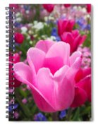 Pretty Pink Tulip And Field With Flowers And Tulips Spiral Notebook