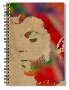 Prince Watercolor Portrait On Worn Distressed Canvas Spiral Notebook