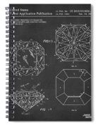 Princess Cut Diamond Patent Gray Spiral Notebook