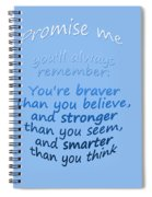 Promise Me - Winnie The Pooh - Blue Spiral Notebook