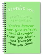 Promise Me - Winnie The Pooh - Green Spiral Notebook