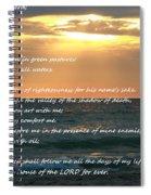 Psalm 23 Beach Sunset Spiral Notebook