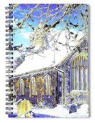 Psychedelic English Village Church In Winter Spiral Notebook