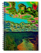 Psychedelic Skyline Over Spokane River #1 Spiral Notebook