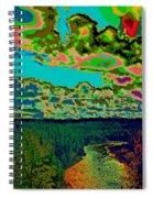 Psychedelic Skyline Over Spokane River #2 Spiral Notebook