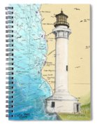 Pt Arena Lighthouse Ca Nautical Chart Map Art Cathy Peek Spiral Notebook