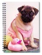 Pug Puppy Bath Time Spiral Notebook