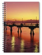 Puget Sound Olympic Mountains Fishing Pier Spiral Notebook