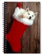 Puppy In Christmas Stocking Spiral Notebook