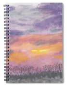 Purple And Gold November Sunset In West Michiganwatercolor Spiral Notebook