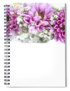 purple and mauve Flower frame on white  Spiral Notebook