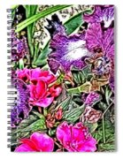 Purple And White Irises And Pink Flowers Spiral Notebook