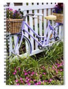 Purple Bicycle And Flowers Spiral Notebook