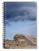 Cala Mesquida Stone Wall Against Rocks With A Stormy Sky Above - Putting Walls To Heaven Spiral Notebook
