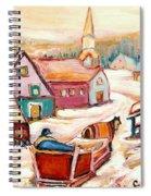 Quebec City Street Scene Caleche Ride In The Village Spiral Notebook
