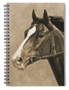 Racehorse Painting In Sepia Spiral Notebook