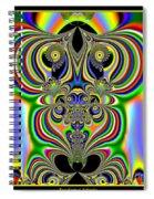 Rainbow Alien Owls Fractal 57 Spiral Notebook