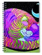 Rainbow Cat Blue Moon Spiral Notebook