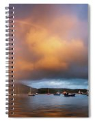 Rainbow Over Harbor At Sunset, Portree Spiral Notebook
