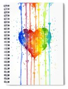 Rainbow Watercolor Heart Spiral Notebook