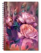 Raindrops On Peach Roses Spiral Notebook