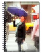 Rainy Day In The City - Blue Pink And Polka Dots Spiral Notebook