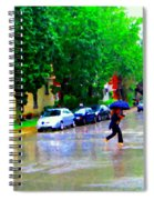 Rainy Days And Mondays Girl Running With The Blue Umbrella Montreal Art City Scenes Carole Spandau Spiral Notebook