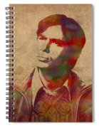 Rajesh Raj Koothrappali Big Bang Theory Watercolor Portrait On Distressed Worn Canvas Spiral Notebook
