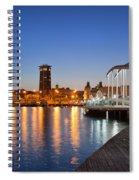 Rambla De Mar Promenade In Barcelona At Night Spiral Notebook