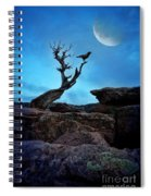 Raven On Twisted Tree With Moon Spiral Notebook