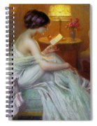 Reading In Lamp Light Spiral Notebook