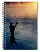 Rear View Of Fly-fisherman Silhouetted Spiral Notebook
