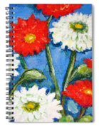 Red And White Flowers With A Blue Sky Spiral Notebook