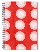 Red And White Shibori Circles Spiral Notebook