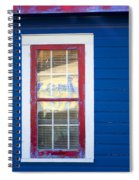Red And White Window In Blue Wall Spiral Notebook