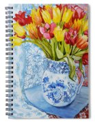 Red And Yellow Tulips In A Copeland Jug Spiral Notebook