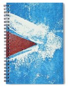 Red Arrow Painted On Blue Wall Spiral Notebook
