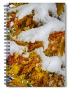 Red Autumn Maple Leaves With Fresh Fallen Snow Spiral Notebook