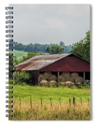 Red Barn And Bales Of Hay Spiral Notebook