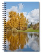 Red Barn And Fall Colors Reflected In A Pond Spiral Notebook