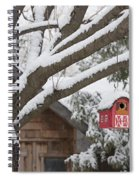 Red Barn Birdhouse On Tree In Winter Spiral Notebook