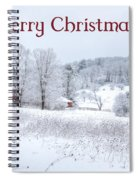 Red Barn Christmas Card Spiral Notebook