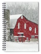 Red Barn In Snow Spiral Notebook