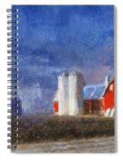 Red Barn With Silos Photo Art 02 Spiral Notebook