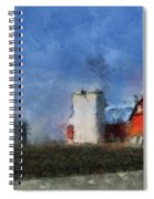 Red Barn With Silos Photo Art 03 Spiral Notebook