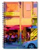 Red Bistro Umbrellas Cafe Cote Soleil Rue St Denis Yellow Staircase Montreal Scenes Carole Spandau Spiral Notebook