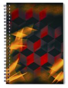 Red Black Blocks Abstract Spiral Notebook