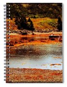 Red Boat At Low Tide Triptych Spiral Notebook